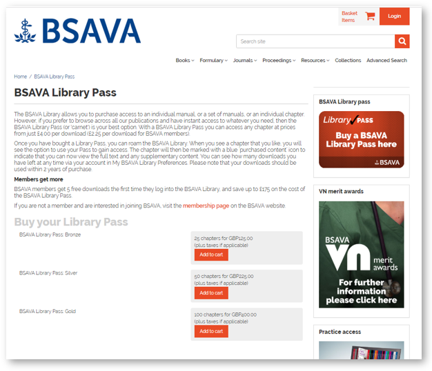 "The BSAVA Library uses Ingenta's ""carnet"" model as a convenient option to download content."